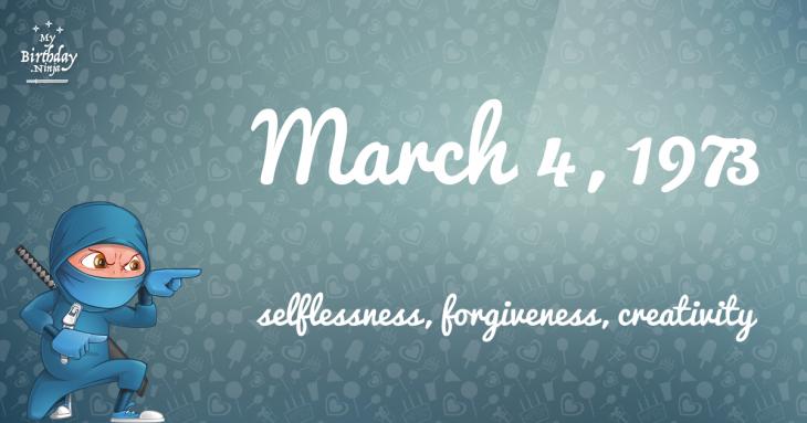March 4, 1973 Birthday Ninja