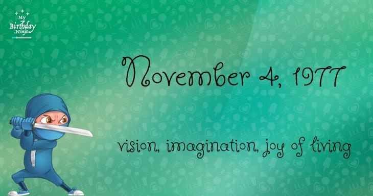 November 4, 1977 Birthday Ninja