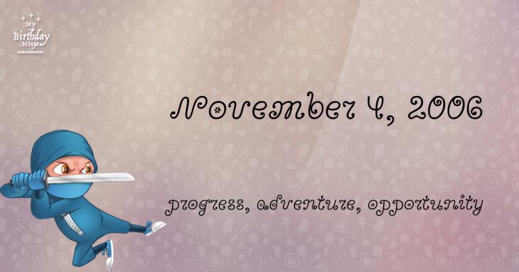 November 4, 2006 Birthday Ninja