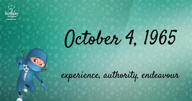 October 4, 1965 Birthday Ninja