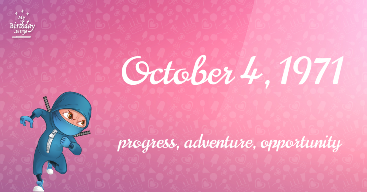 October 4, 1971 Birthday Ninja