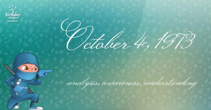 October 4, 1973 Birthday Ninja