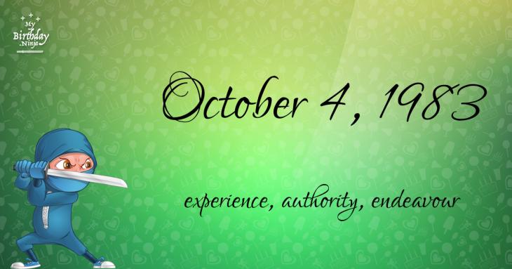 October 4, 1983 Birthday Ninja