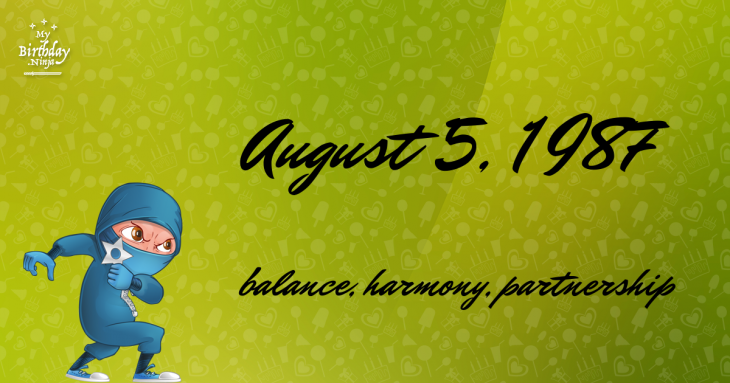 August 5, 1987 Birthday Ninja