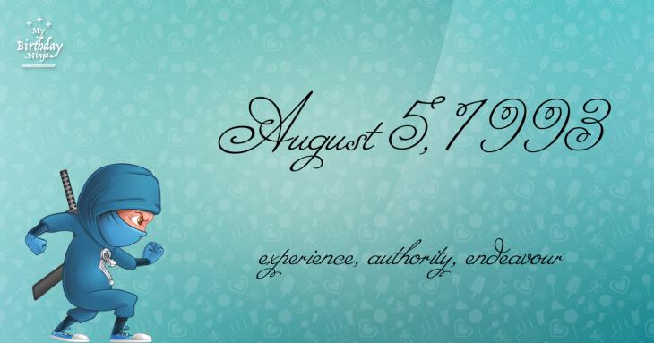 August 5, 1993 Birthday Ninja