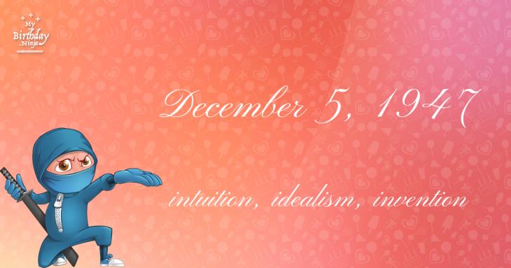 December 5, 1947 Birthday Ninja