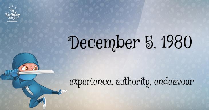 December 5, 1980 Birthday Ninja