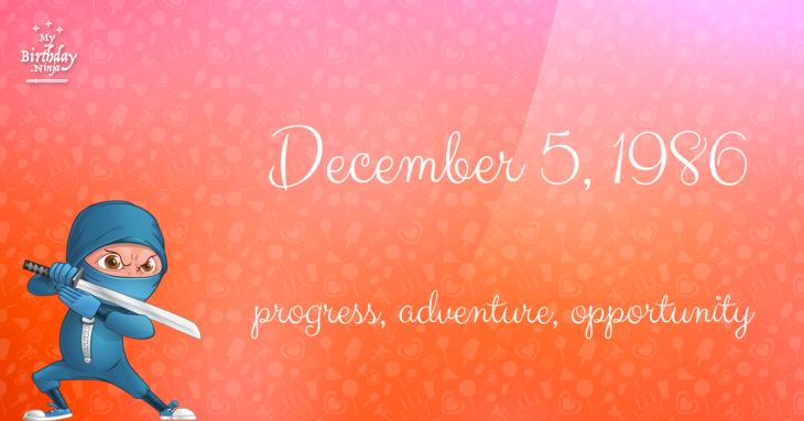 December 5, 1986 Birthday Ninja