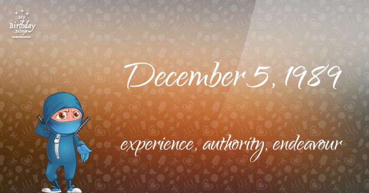 December 5, 1989 Birthday Ninja