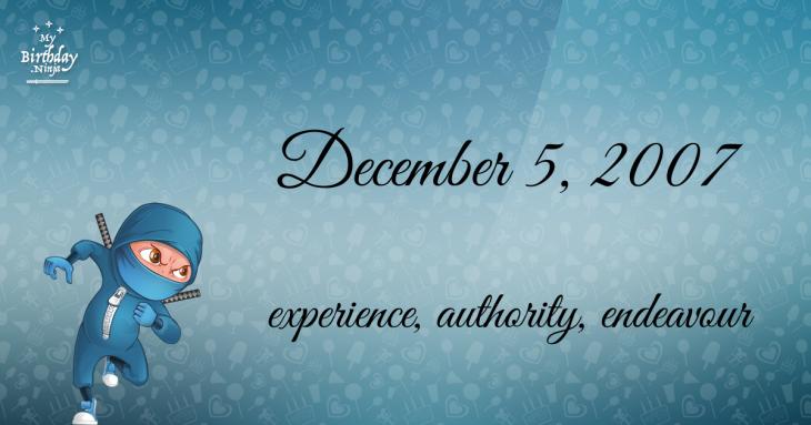 December 5, 2007 Birthday Ninja