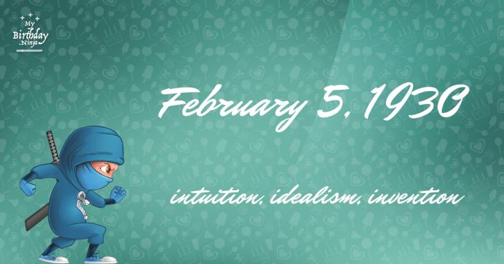 February 5, 1930 Birthday Ninja