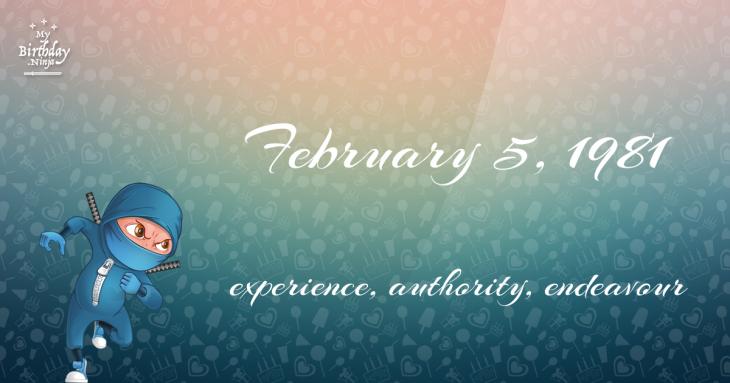 February 5, 1981 Birthday Ninja