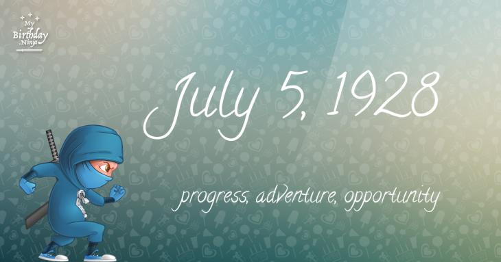 July 5, 1928 Birthday Ninja