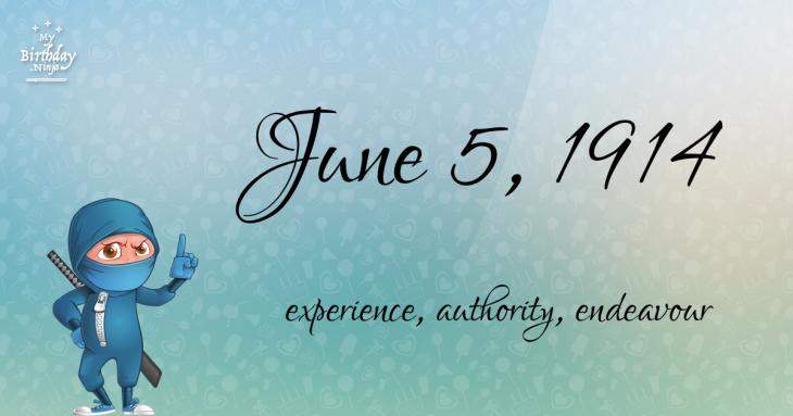 June 5, 1914 Birthday Ninja