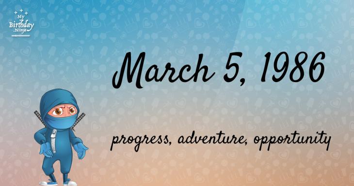 March 5, 1986 Birthday Ninja