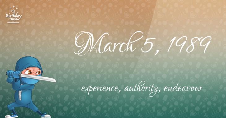 March 5, 1989 Birthday Ninja