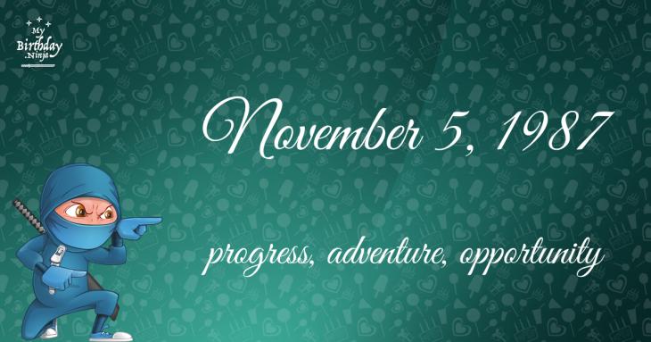 November 5, 1987 Birthday Ninja
