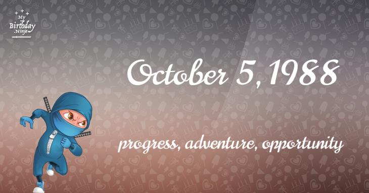 October 5, 1988 Birthday Ninja