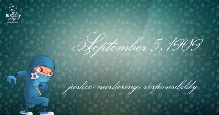 September 5, 1909 Birthday Ninja