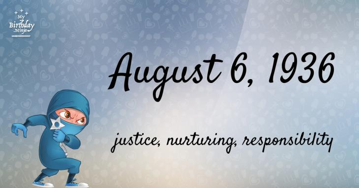 August 6, 1936 Birthday Ninja