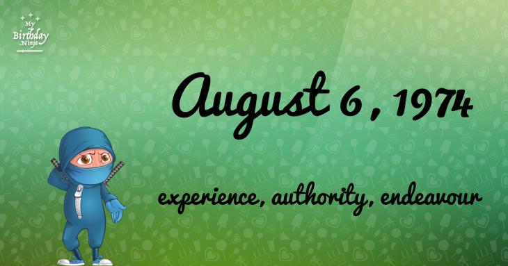 August 6, 1974 Birthday Ninja