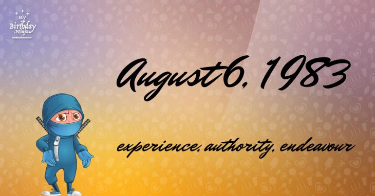 August 6, 1983 Birthday Ninja