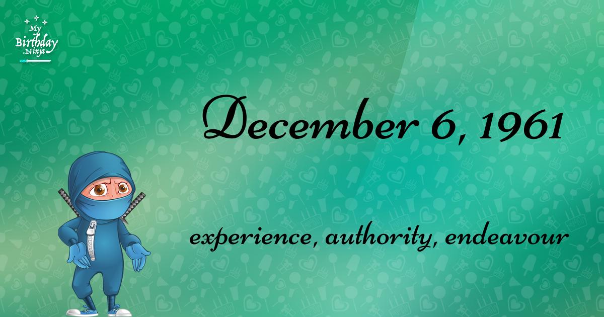 December 6, 1961 Birthday Ninja Poster