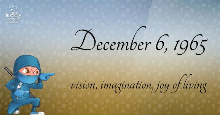December 6, 1965 Birthday Ninja