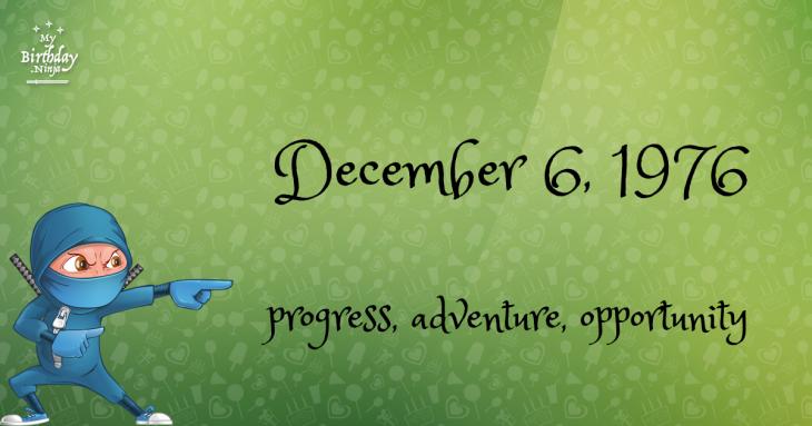 December 6, 1976 Birthday Ninja