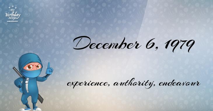 December 6, 1979 Birthday Ninja