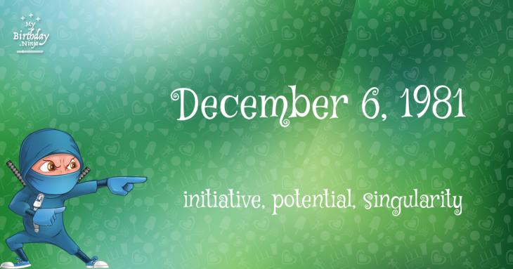 December 6, 1981 Birthday Ninja