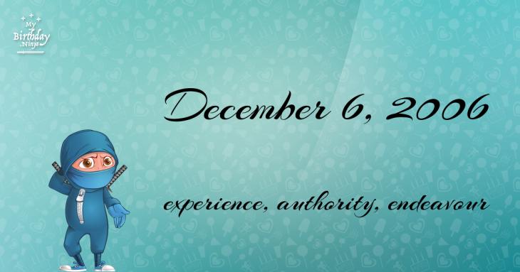December 6, 2006 Birthday Ninja