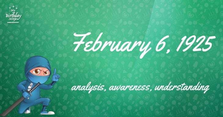 February 6, 1925 Birthday Ninja