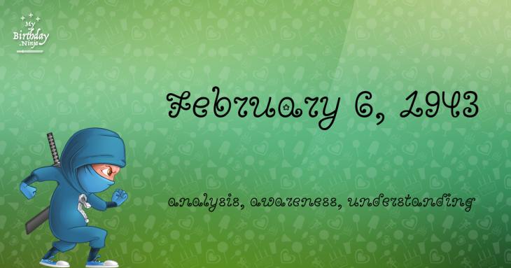February 6, 1943 Birthday Ninja