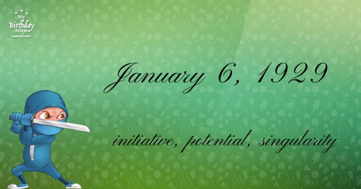 January 6, 1929 Birthday Ninja