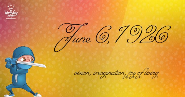 June 6, 1926 Birthday Ninja