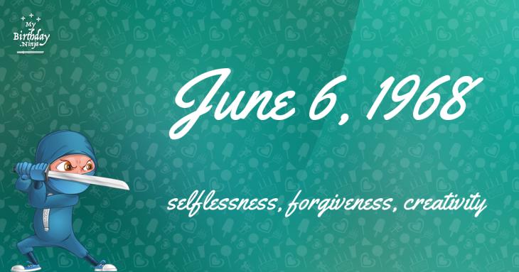 June 6, 1968 Birthday Ninja