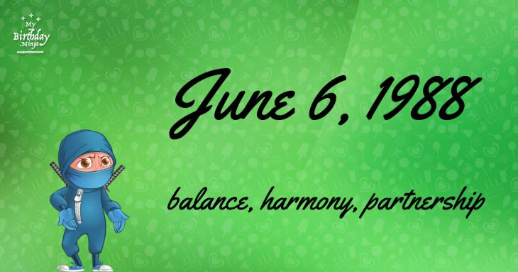 June 6, 1988 Birthday Ninja