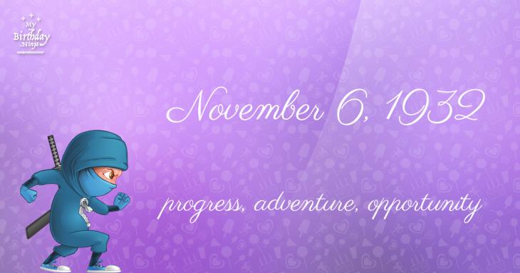 November 6, 1932 Birthday Ninja