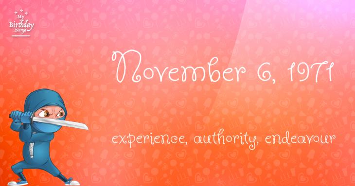 November 6, 1971 Birthday Ninja