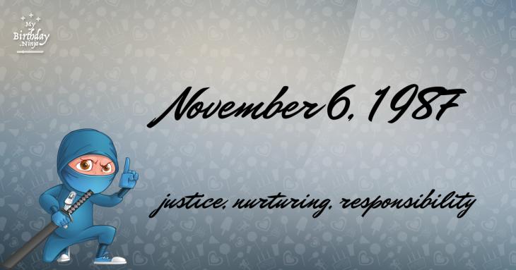 November 6, 1987 Birthday Ninja