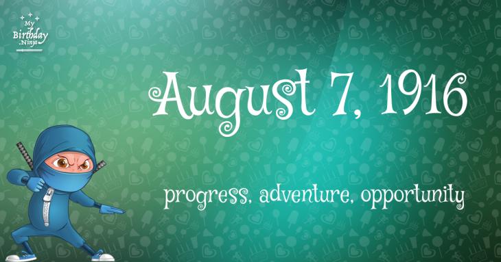 August 7, 1916 Birthday Ninja