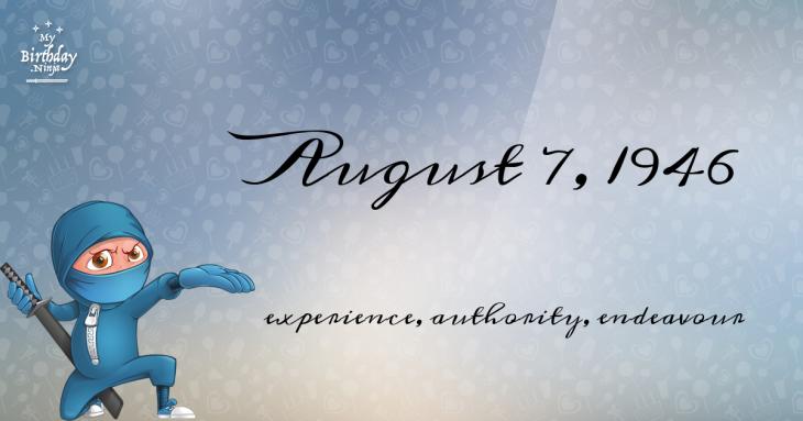 August 7, 1946 Birthday Ninja