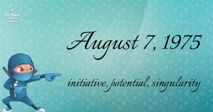 August 7, 1975 Birthday Ninja