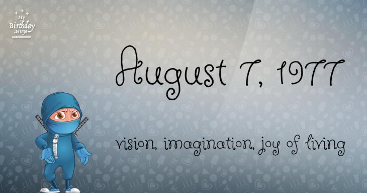 August 7, 1977 Birthday Ninja