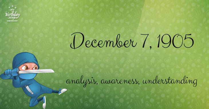 December 7, 1905 Birthday Ninja