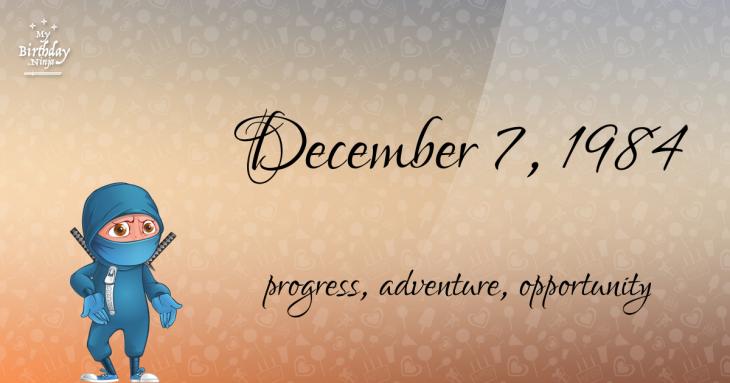 December 7, 1984 Birthday Ninja