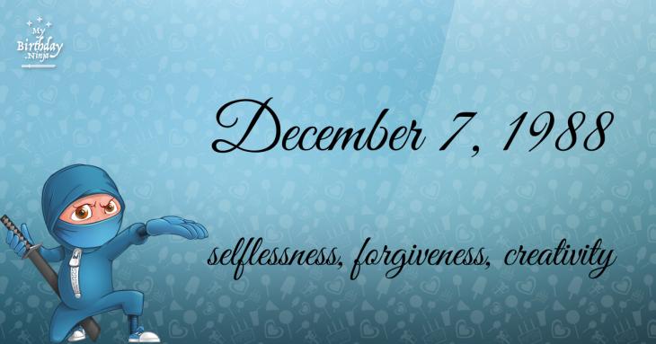 December 7, 1988 Birthday Ninja