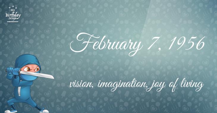 February 7, 1956 Birthday Ninja