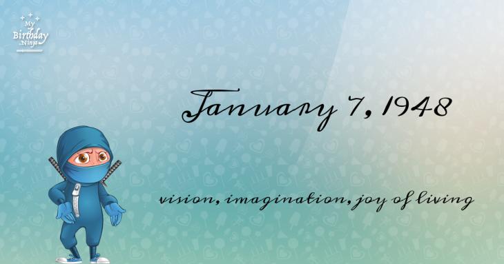 January 7, 1948 Birthday Ninja